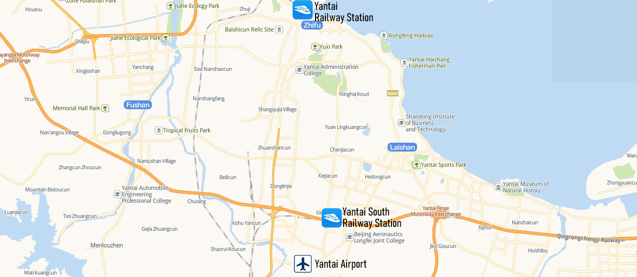 Map of Yantai South Railway station, Yantai Nan Train Station Map