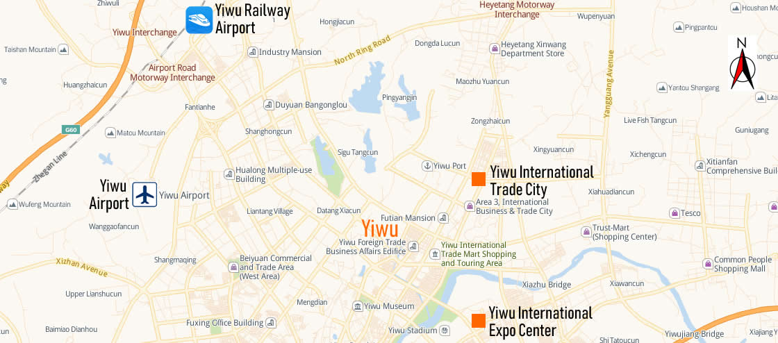 Map of Yiwu Railway Station, Map of Yiwu high speed train station, location