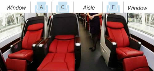 Business Class seats on high-speed trains in China