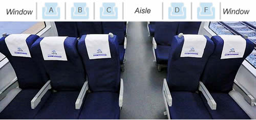 Second Class seats on high-speed trains in China