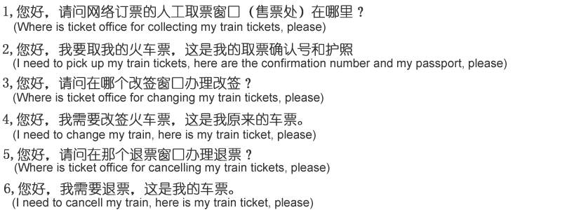 Question in Chinese to pick up, change or cancel ticket at Railway Station