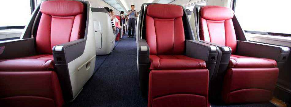 Business class seats in high-speed trains, bullet trains, China