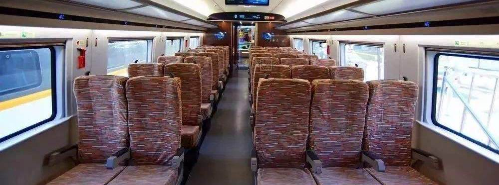 Second class seats in high-speed trains, bullet trains, China