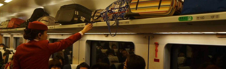 Luggage rack in high-speed trains