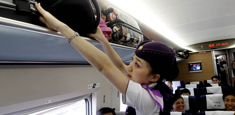 luggage racks in high-speed trains, bullet trains, China