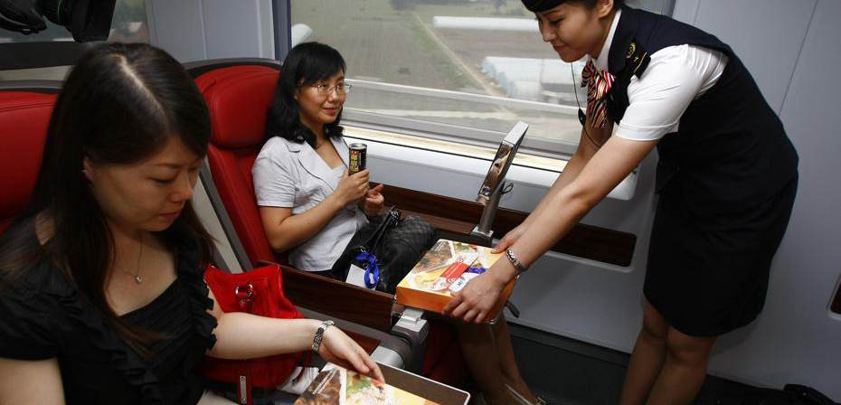 Free meal, food, drink  in business class of high-speed trains